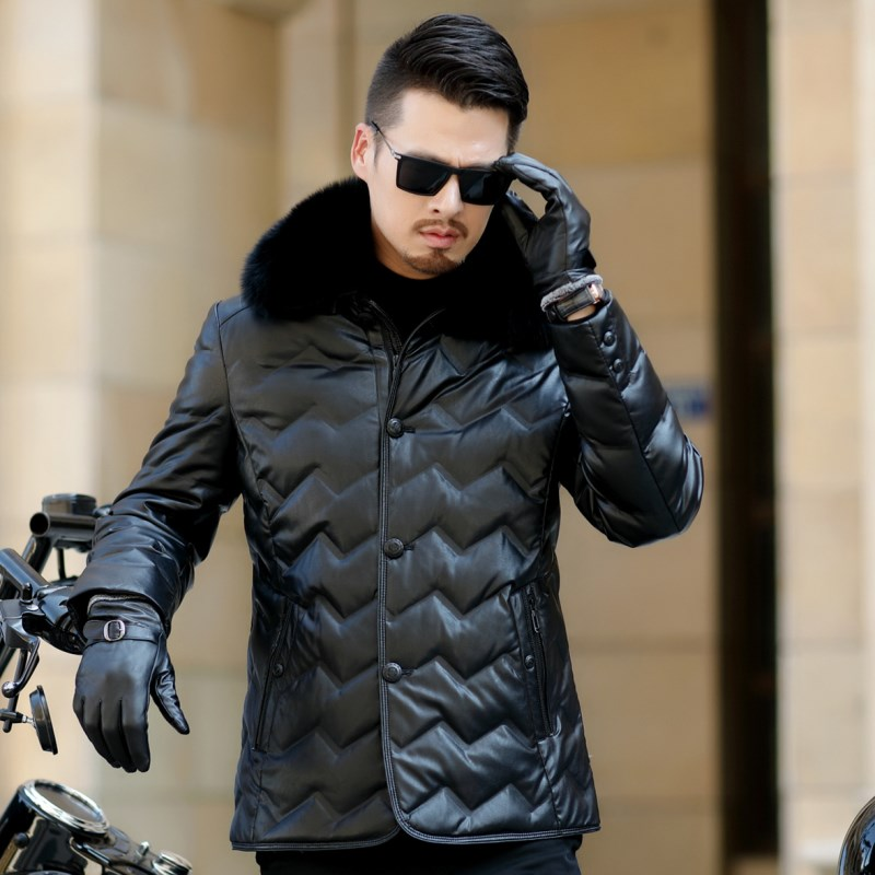 HTB1JU2QXh rK1RkHFqDq6yJAFXas Jaqueta Couro Sale Men Engine Leather Parka Winter Down Jacket 2018 New Middle-aged Sheep Coats Large Size Outerwear Male No520