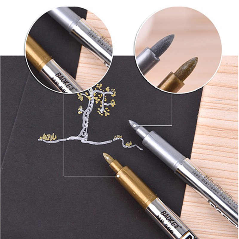 2pcs Gold Silver Metallic Color Pen DIY Paper Tag Photo Album Scrapbooking For Party Birthday Wedding Decoration Signing Pen