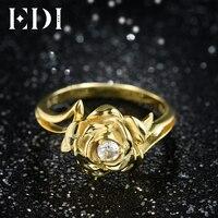 EDI Gorgeous 3 MM Natuurlijke Diamant Trouwringen Real 14 k 585 wit Rose Goud Moissanite Sieraden Voor Vrouwen Schoonheid En De Beast