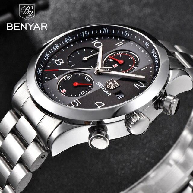 ผู้ชาย BENYAR นาฬิกาแบรนด์หรู Chronograph กันน้ำทหารชายนาฬิกานาฬิกาเหล็กกีฬานาฬิกาข้อมือ relogio masculino 5133