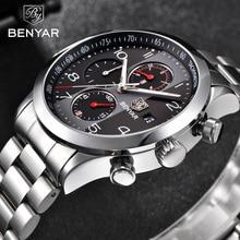 BENYAR メンズ腕時計トップブランドの高級クロノグラフ防水ミリタリー男性時計メンズフルスチールスポーツ腕時計レロジオ masculino 5133
