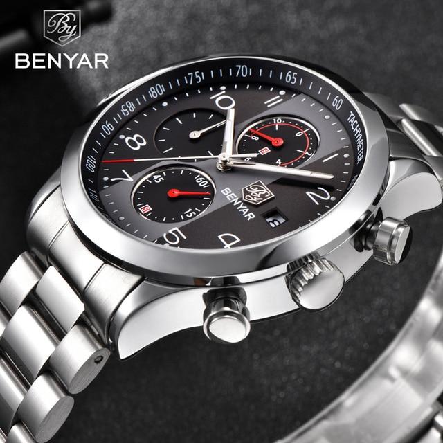 BENYAR reloj para hombre, cronógrafo de lujo, resistente al agua, militar, de pulsera, deportivo, de acero, masculino, 5133