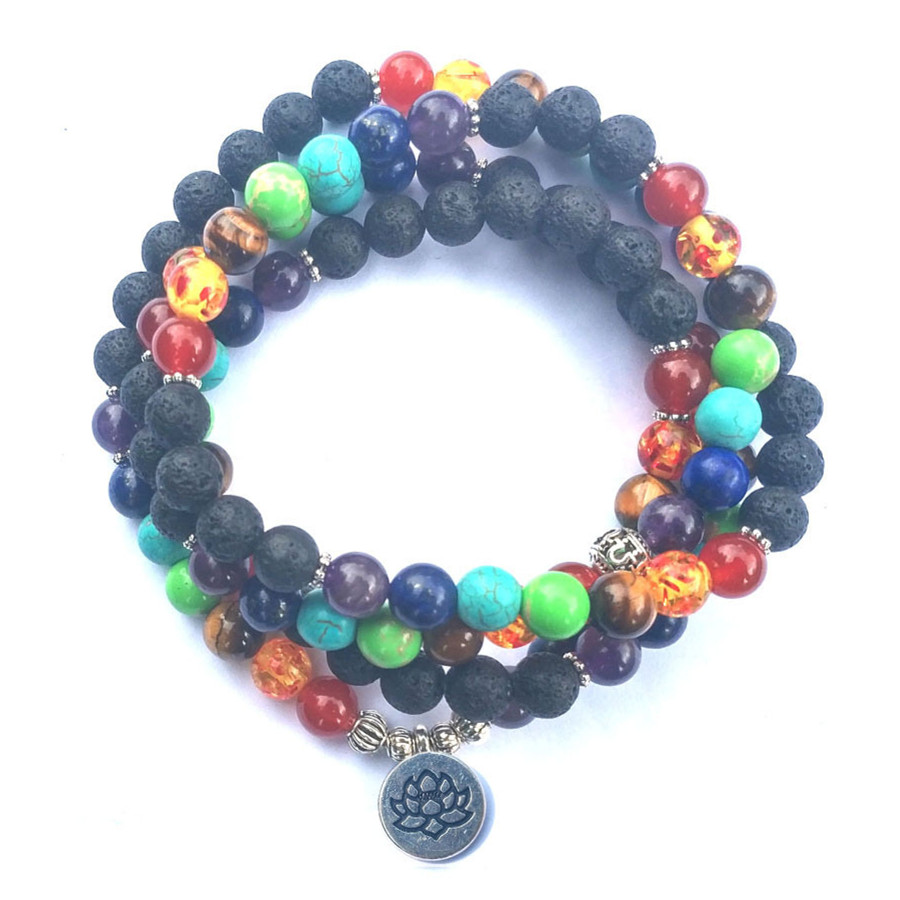 DIEZI Multi Farbe 7 Chakra 108 Mala Lava Perlen Armbänder Yoga Reiki Gebet Lotus Buddha Charme Strang Armband Für Frauen männer