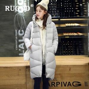 Image 4 - RUGOD Elegant long padded Parka coats slim Fashion 2019 button pocket long Down jackets women Thicken Winter Warm Outwear female