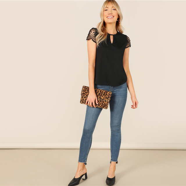 Cut Out Front Guipure Lace Short Sleeve Summer Top 5