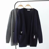Plus size Embroidered pockets knitted wool women Cardigan coat 2018 autumn gray & dark blue ladies sweater female knitwear coat