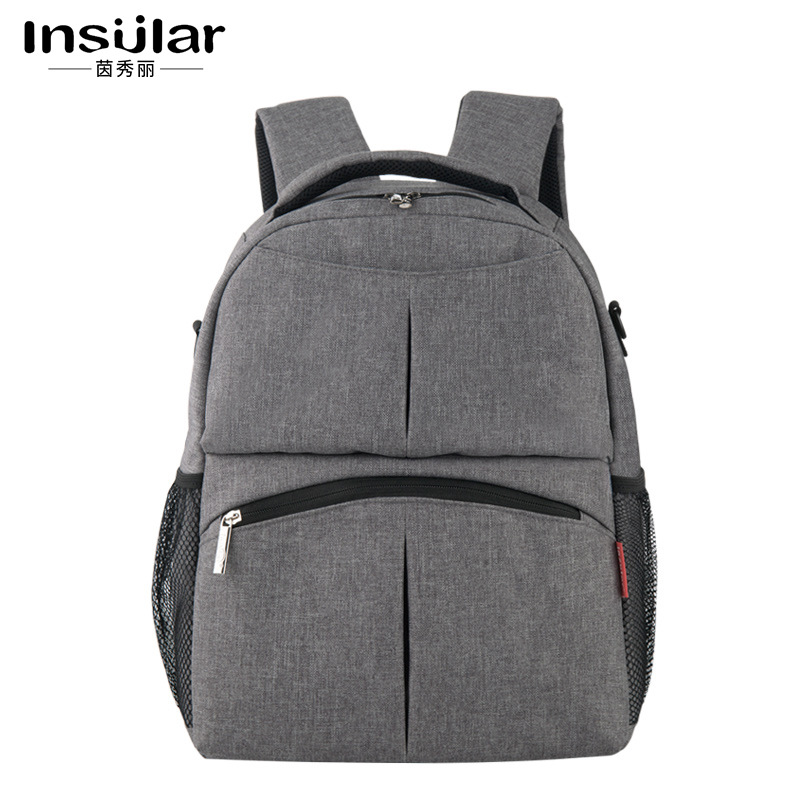 INSULAR Flax Multi Function Mummy Bag Backpack Shoulder Bag Backpack Oxford Cloth Baby Feeding Diaper Bag T black waterproof oxford cloth thicken oxford multi funtional hardware toolkit shoulder strap tool bag backpack