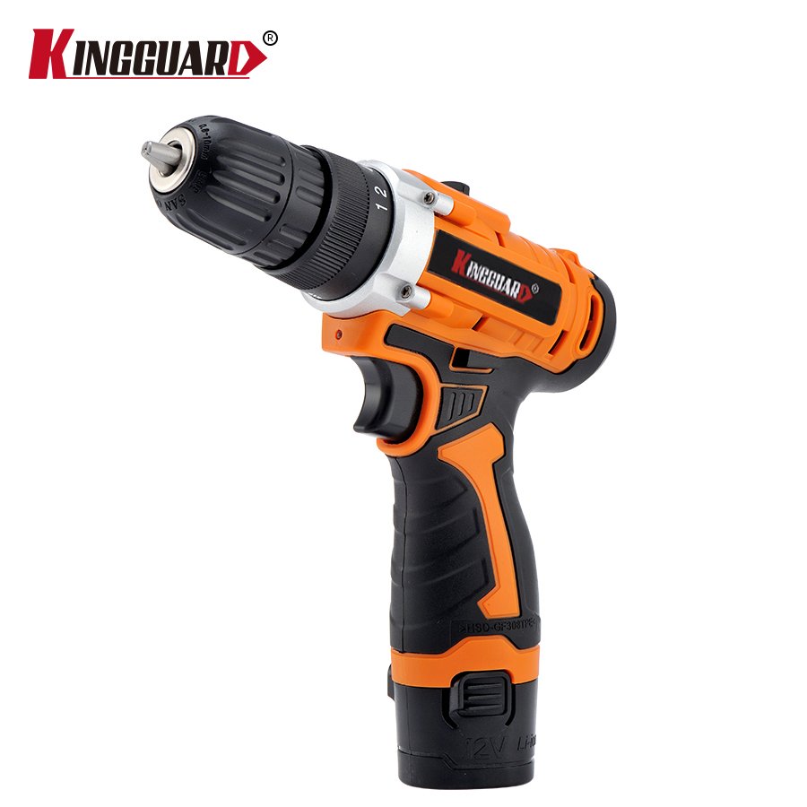 KINGGUARD 12V Cordless Screwdriver Electric Drill Two-Speed Rechargeable Lithium Battery Waterproof Hand LED Light 25v cordless drill electric two speed rechargeable 2pcs lithium battery waterproof drill led light
