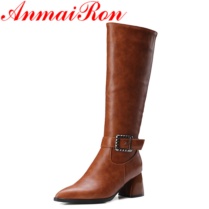 ANMAIRON Autumn&Winter Mid-Calf Boots Zipper Buckle Platform Shoes Pointed-Toe Square Heels Motorcycle Boots Large Size 34-43 zippers double buckle platform mid calf boots