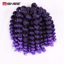 Wignee 8 Inches Curly Senegalese Twist Synthetic Hair Extensions Ombre Mixed Color 1B Purple/BUG/Grey Crochet Braids Hair Pieces цена