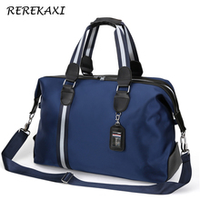 REREKAXI Large Capacity Men's Travel Bag Women Waterproof Nylon Hand Luggage Bag