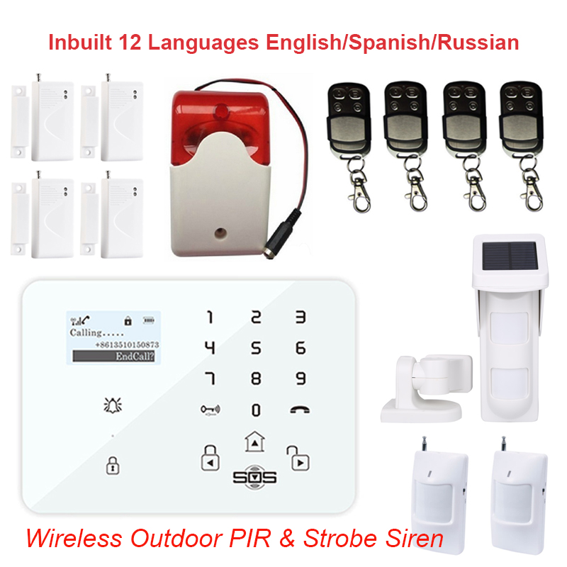 Android/IOS APP Control Remote Home Security Wireless Outdoor PIR Motion Sensor Solar Power GSM SMS Burglar Alarm System K9M wifi gsm home security alarm system ios android control rfid keypad 433mhz wireless intelligent door window sensor pir sensor