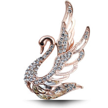 Rhinestone Swan Brooches For Women