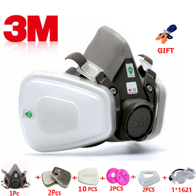 18 In 1 3M 6200 Industrial Half Mask Dust-proof Spray Paint Gas Mask Respiratory Protection Safety Work Safety Goggles Filters