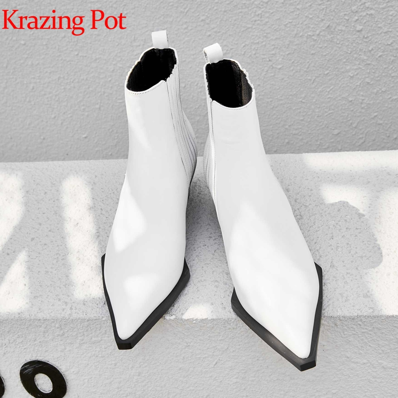 Krazing pot full grain leather ankle boots pointed toe med heels limited customization European British school
