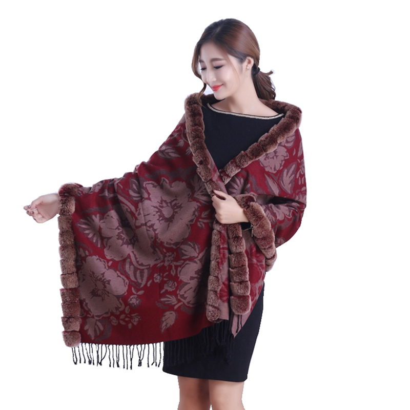 Lady Fashion Autumn Winter Printed Silk Wraps with Tassels Rex Rabbit Fur Trimming Women Fur Pashmina Shawl Neck Rings LF5002