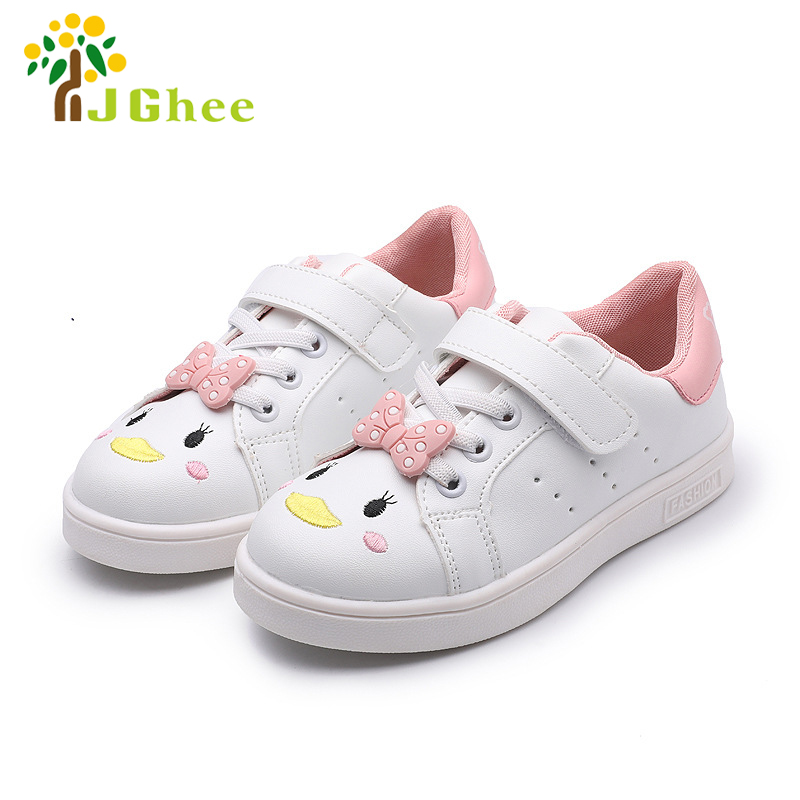 Cartoon White Shoes For Girls Kids Casual Sneakers Sports Running Shoes Children School Shoes With Cute Bow-knot Canvas Shoes
