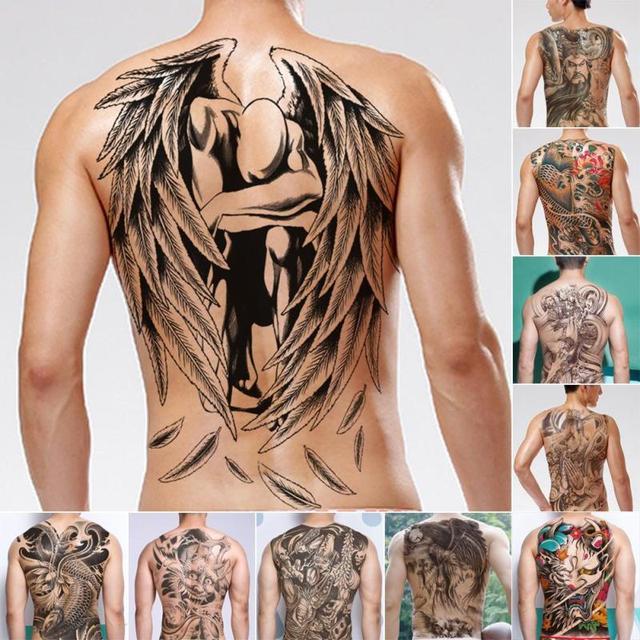 hommes transfert de l'eau tatouages autocollant chinois dieu dos