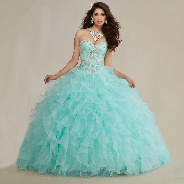 e528c3b67e4e1 Gorgeous Embroidery Beaded Sweetheart Organza Ruffles Mint Quinceanera  Dresses 2015 Ball Gowns Puffy Quinceanera Gowns