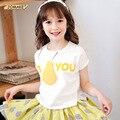 Груша письмо девушки футболки летний стиль свободного покроя ребенок вершины тройники детьми мягкой хлопчатобумажной назад кружева блузка бобо выбирает детская одежда