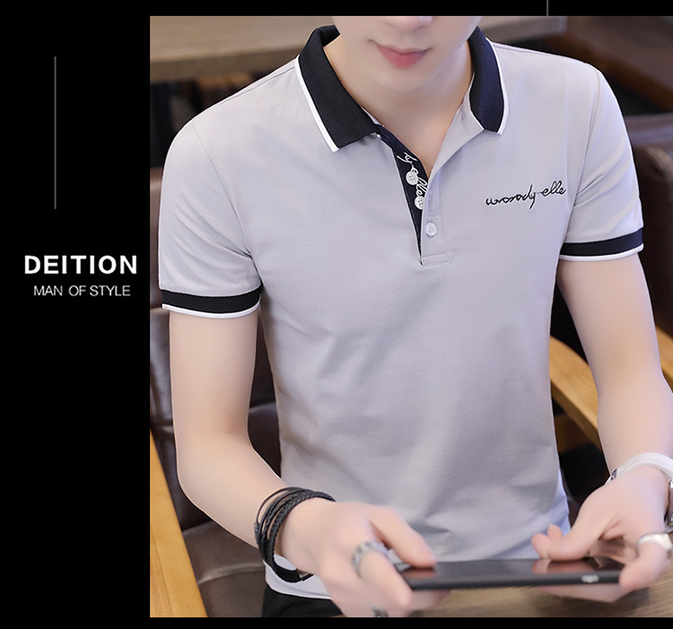 2019 men splicing t-shirts with short sleeves Comfortable in summer youth leisure lapel t-shirts 23