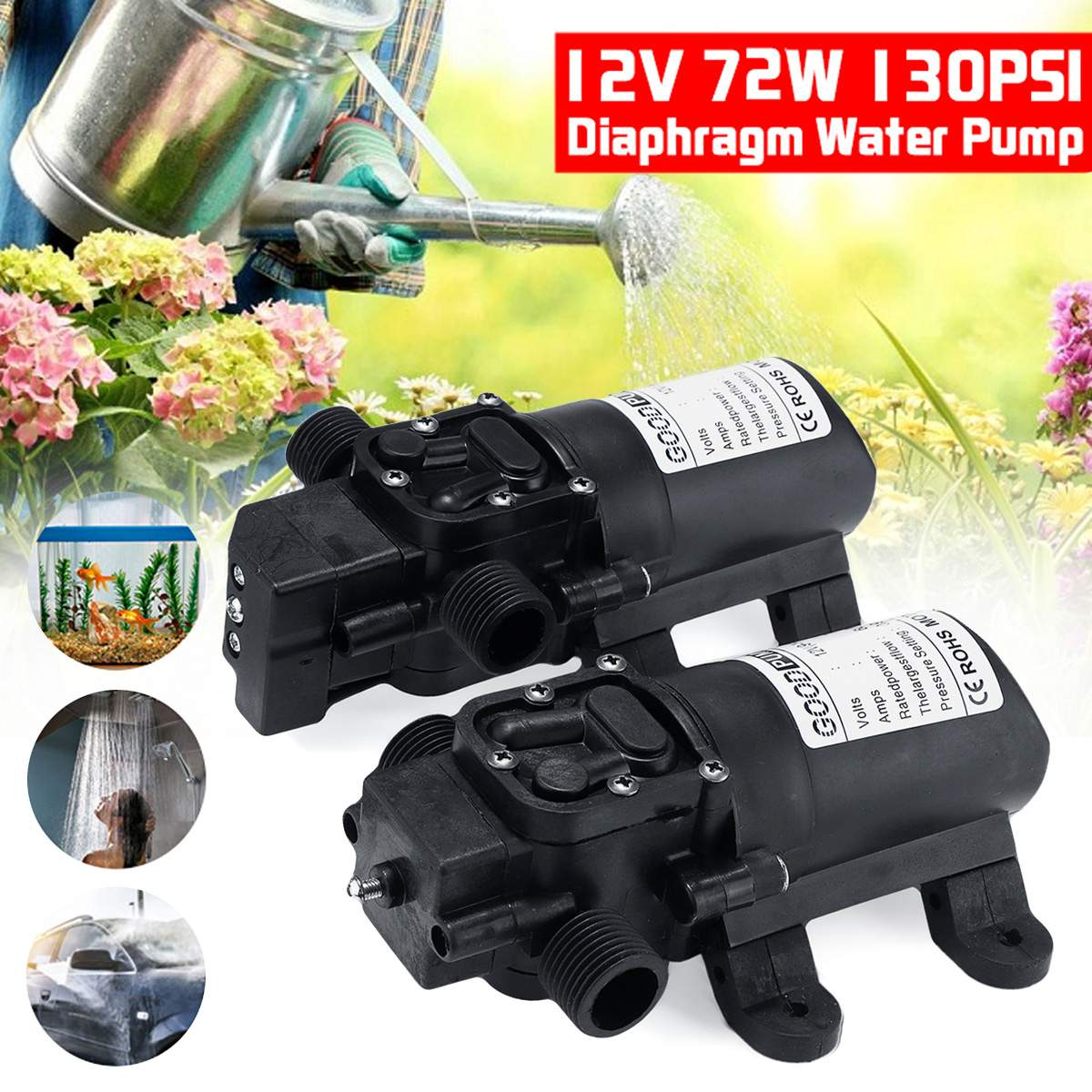 DC 12V <font><b>130PSI</b></font> 6L/min Electric Water <font><b>Pump</b></font> Black Micro High Pressure Diaphragm Water <font><b>Pump</b></font> Sprayer Car Wash 12 V image