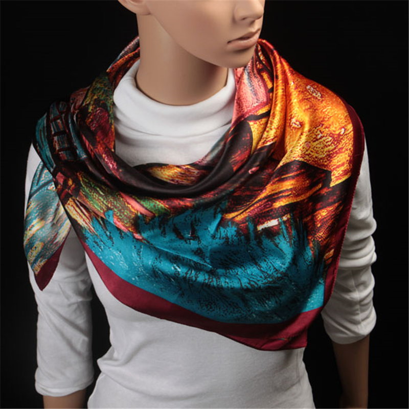 Spring SummerFlower Print <font><b>Silk</b></font> <font><b>Scarf</b></font> Women Large Satin Hijab <font><b>Scarves</b></font> Head Handkerchief Shawl Wraps <font><b>90x90</b></font> cm Neck Gaiter Shawl image