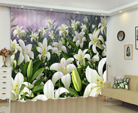 3D Painting Lily Flowers Window Curtain For Bedding Room