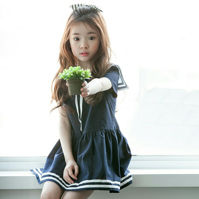 3a05a70f5 Teenage Girls Summer Peter Pan Collar Korean Clothing Dress Children GIRLS  NAVY College Maria Tung Wind Dress Wholesale-in Dresses from Mother & Kids  on ...