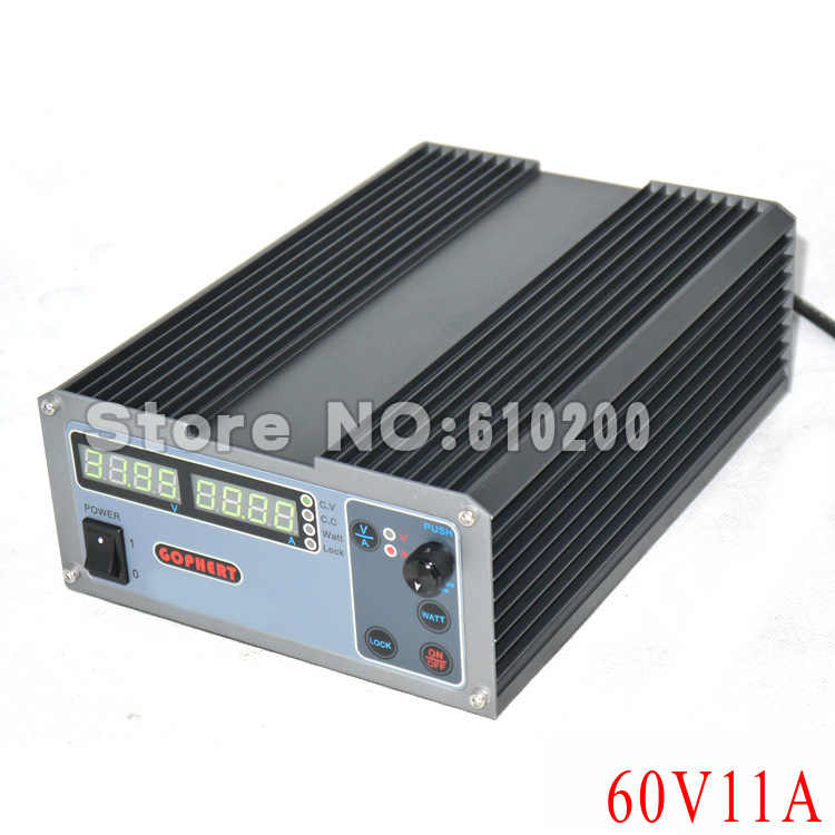 New upgrade Compact Digital Adjustable DC Power Supply OVP/OCP/OTP MCU Active PFC 60V11A 170V-264V + EU + Cable cps 6003 60v 3a dc high precision compact digital adjustable switching power supply ovp ocp otp low power 110v 220v