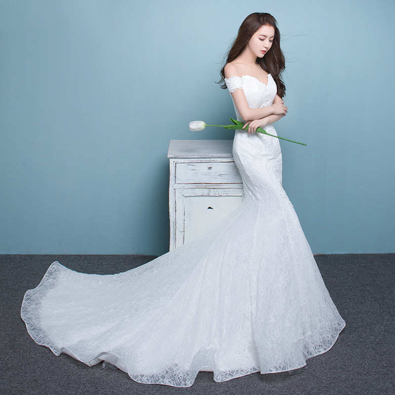 Elegant Luxurious Lace Mermaid Wedding Dresses Off Shoulder Short ...