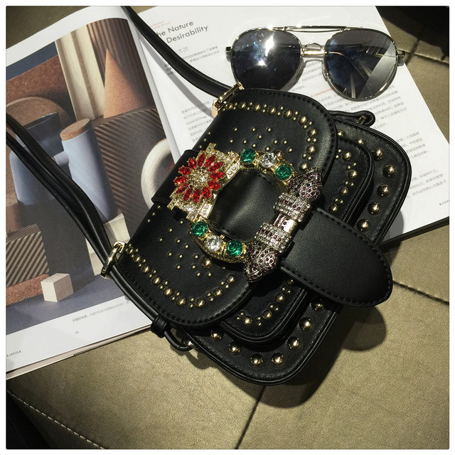 New Luxury diamond rivet fashion vintage ladies saddle bag shoulder bag women's purse handbag messenger bag across the body flap