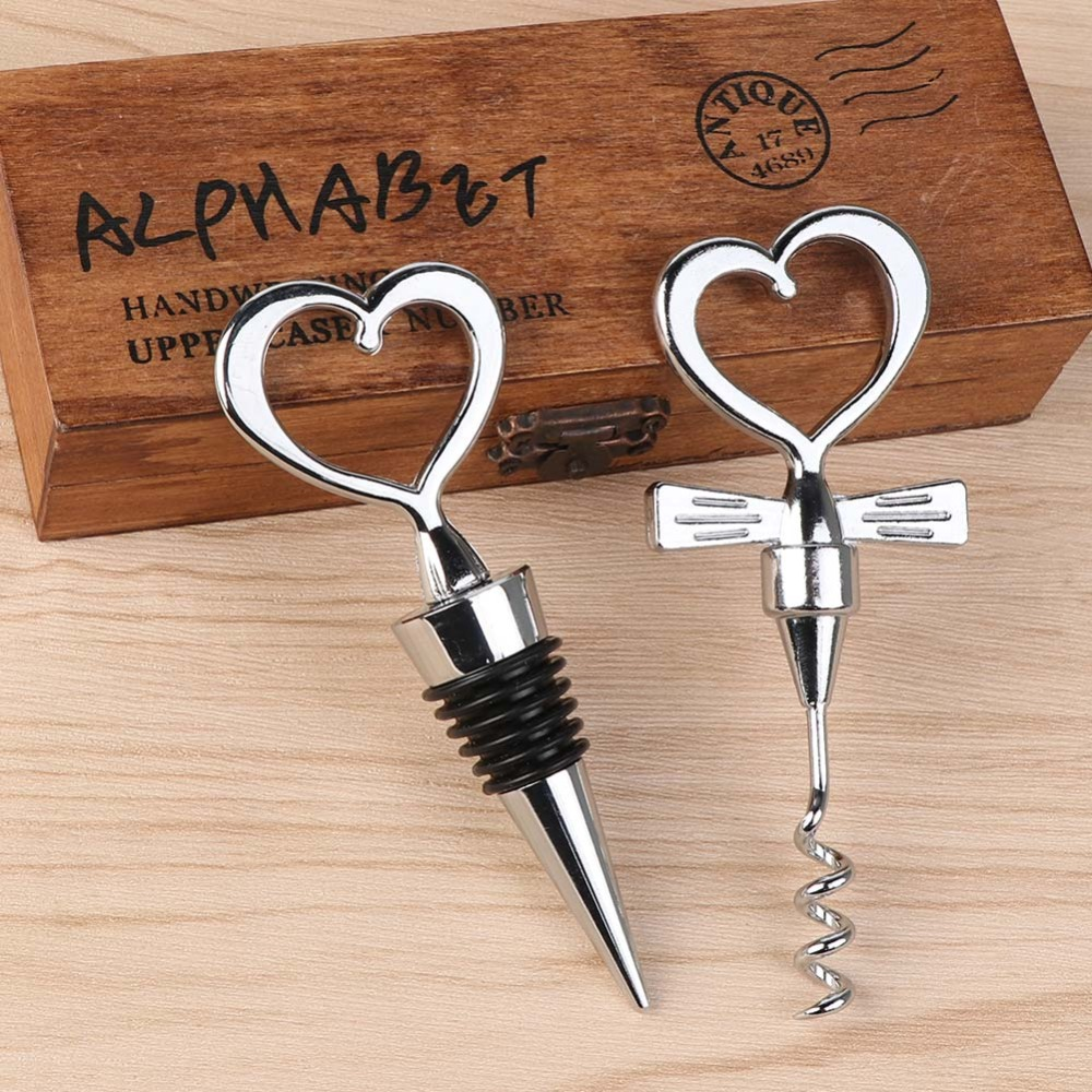 OurWarm 10sets  Love Heart Corkscrew Wine Bottle Opener Wedding Souvenirs Gifts For Guests Party Decoration Supplies