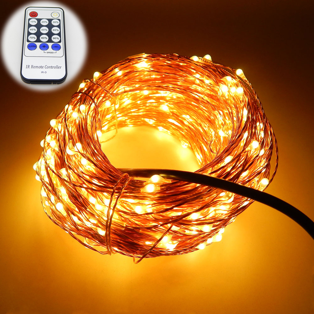 newest dec58 2d84a US $26.49 |99Ft/30m 300 Leds Copper Wire Warm White LED String Lights  Starry Lights Fairy lights+12V Power Adapter+Remote Control-in LED String  from ...