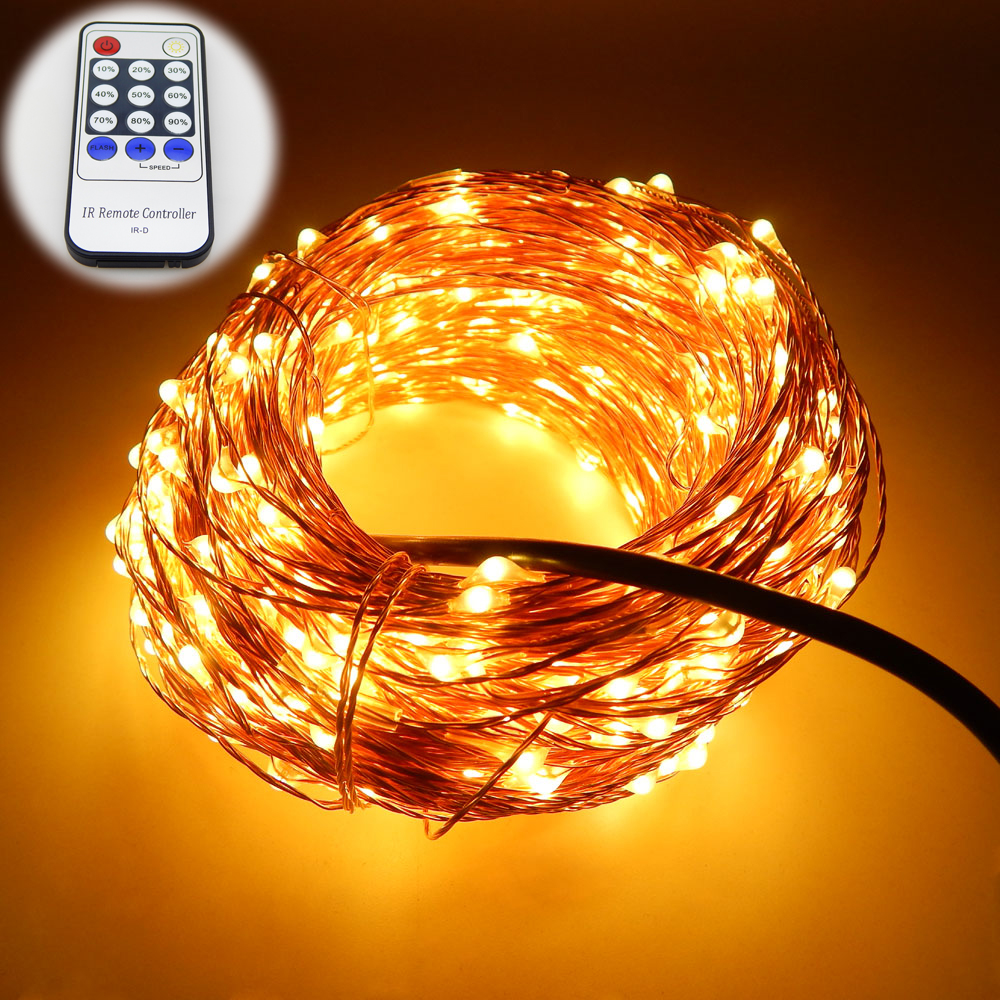 99Ft 30m 300 Leds Copper Wire Warm White LED String font b Lights b font Starry