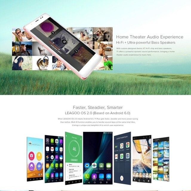 Original 5 5 Inch Leagoo T1 Plus 3GB RAM MT6737 Quad Core Mobile Phone 16GB  ROM Android 6 0 Cell phones 4G LTE 13 0MP Smartphone-in Mobile Phones from