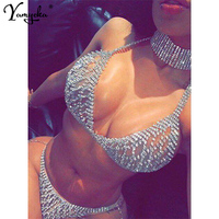 Sexy Lace Up Metal Body mujer Chest Chain bodysuit Women Bling diamond Sequin Summer Jumpsuit Luxury Nigh Club Party Overalls HL
