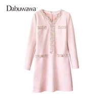 Dabuwawa Pink Winter Elegant Suede O Neck Dress Vintage A Line Mini Dress Party Dresses Vestidos