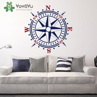 Removable Wall Decal Compass Rose Wall Vinyl Decal Nautical Sailing Decor Big Size Choose Mix Color