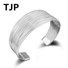 TJP New Arrival Multi Line Design Bracelets For Women Party High Quality 925 Sterling Silver Jewelry Bangles