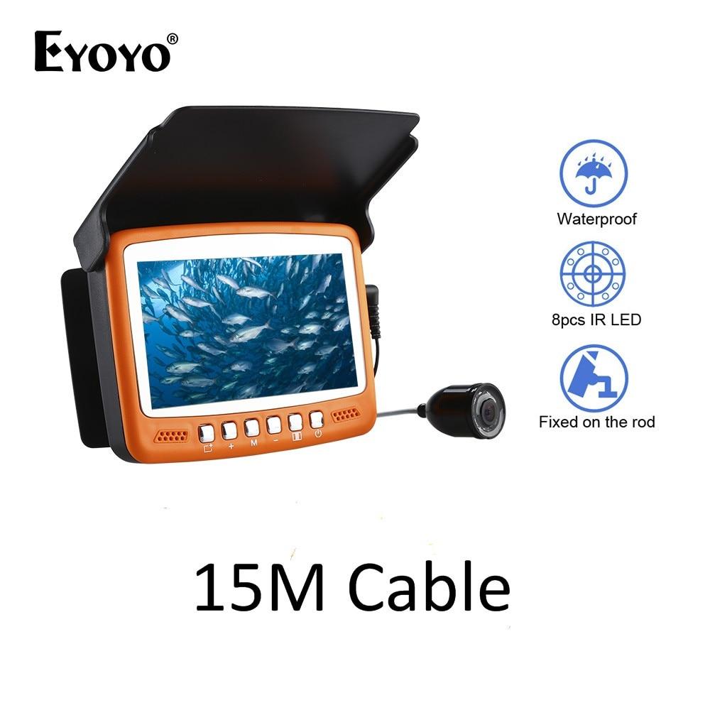 Eyoyo Brand New 15M 1000TVL Fish Finder 4.3 LCD Fishing Monitor Infrared LED Fishfinder Video Camera