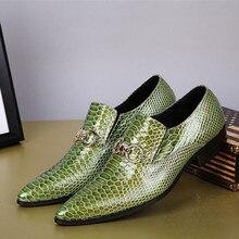 Плюс Размер 38-46 2017 Новый Крокодил Pattern Мужская Обувь Из Натуральной Кожи Fashion Бизнес Стиль Платье Обувь для Мужчин зеленый
