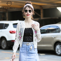 SEQINYY Sun Protection Jacket 2018 Summer Women High Quality Flowers Lace Hollow out White / Black Long Sleeve Short Jacket