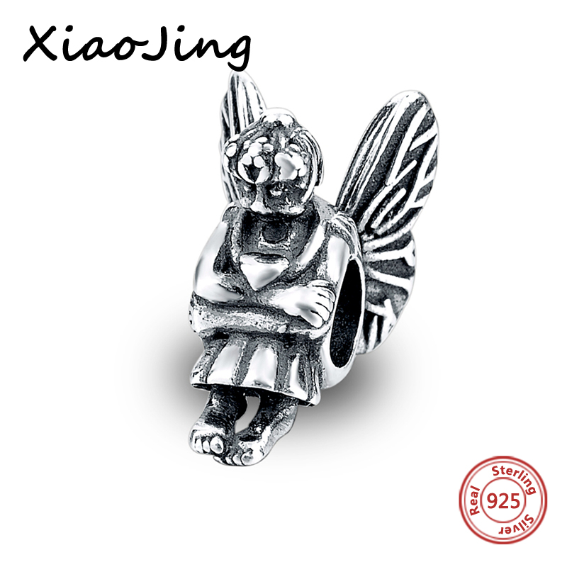 Genuine 925 sterling silver Original angel Charm Bead Jewelry making Fit Authentic Pandora Bracelet diy pendant charm Women Gift