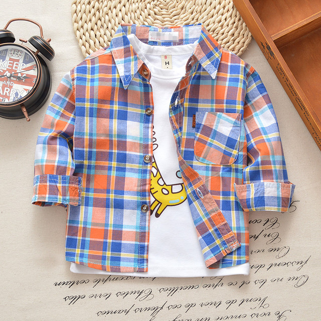 2- 8 Years Boys Classic Casual Plaid Shirt
