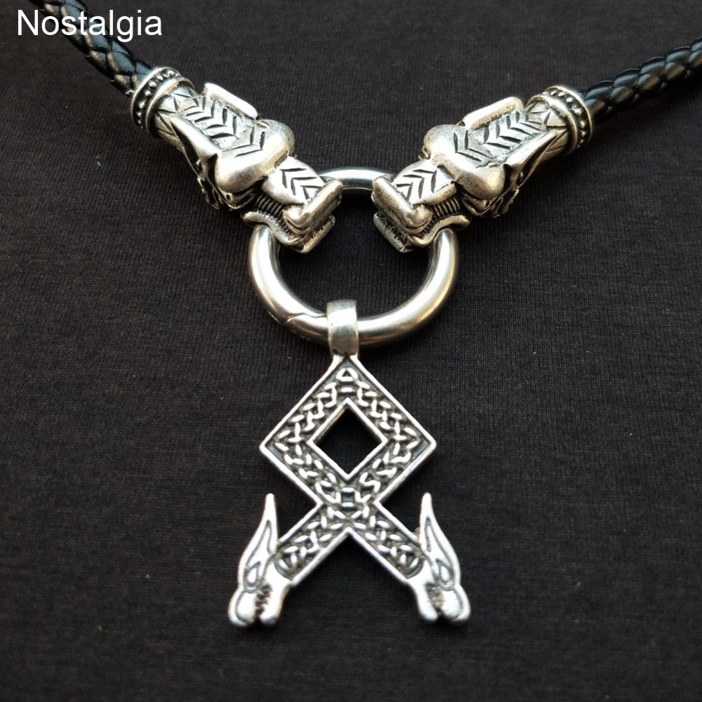 Viking Wolf Dragon Head Cross Pewter Pendant with Dragon Head Necklace