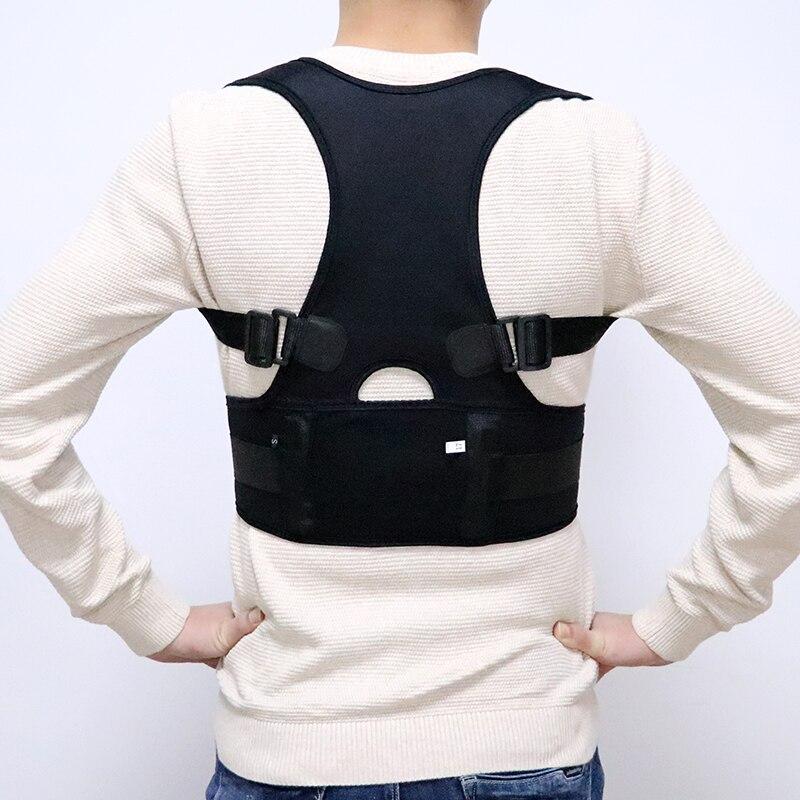 Feminino masculino Ajustável Magnetic Posture Corrector Corset Voltar Brace Apoio Lombar Cinto de Ombro Para Trás Em Linha Reta Dos Homens Preto S-4XL