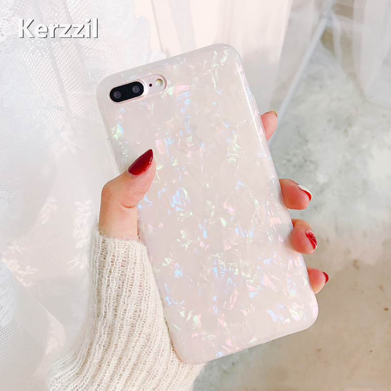 Galleria fotografica Kerzzil Luxury Gradient Bling Pearl Color Phone Cases For iPhone X 10 Soft TPU Case Cover For iPhone 6s 6 7 8 Plus Glitter Back
