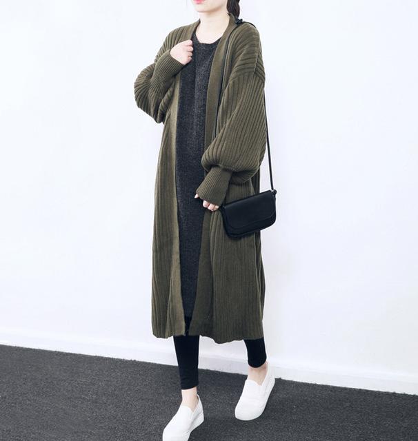 [XITAO] 2016 otoño/invierno de las mujeres de la edición de corea cardigan tejido de punto color puro suéter mujer loose abrir stitch suéter BD002