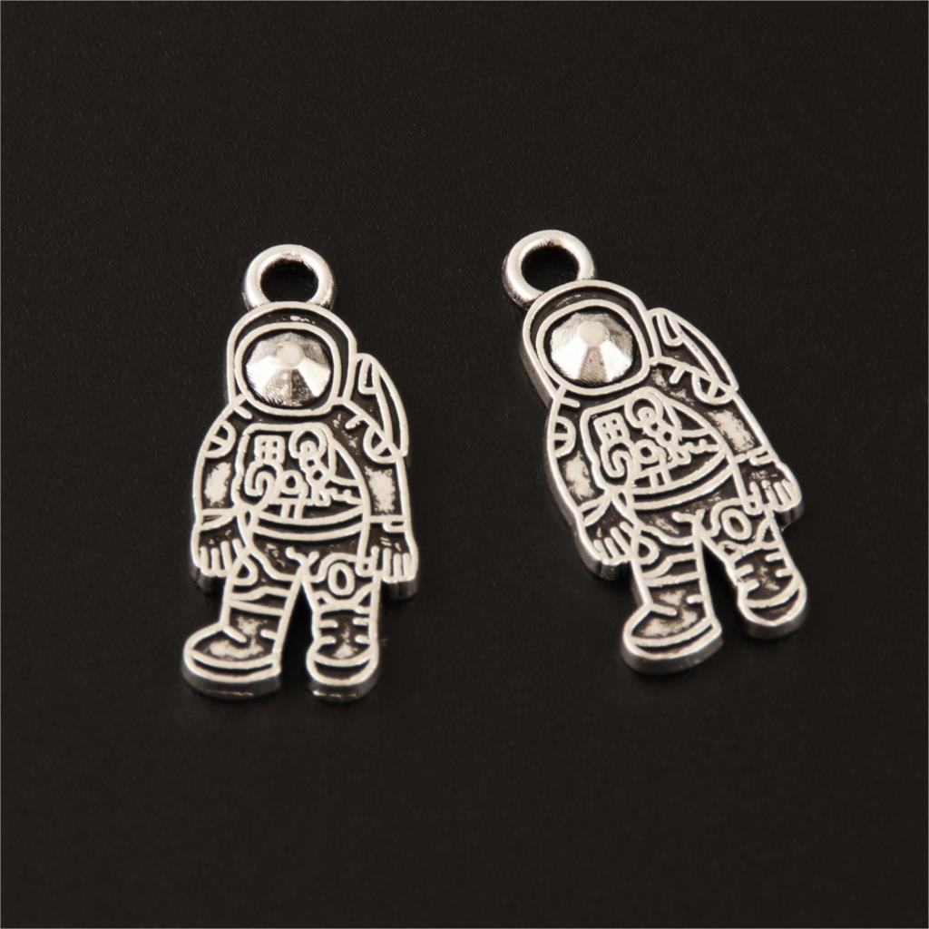 Space Austronaut Rocket Tibetan Silver Tone Charm Set Of 3